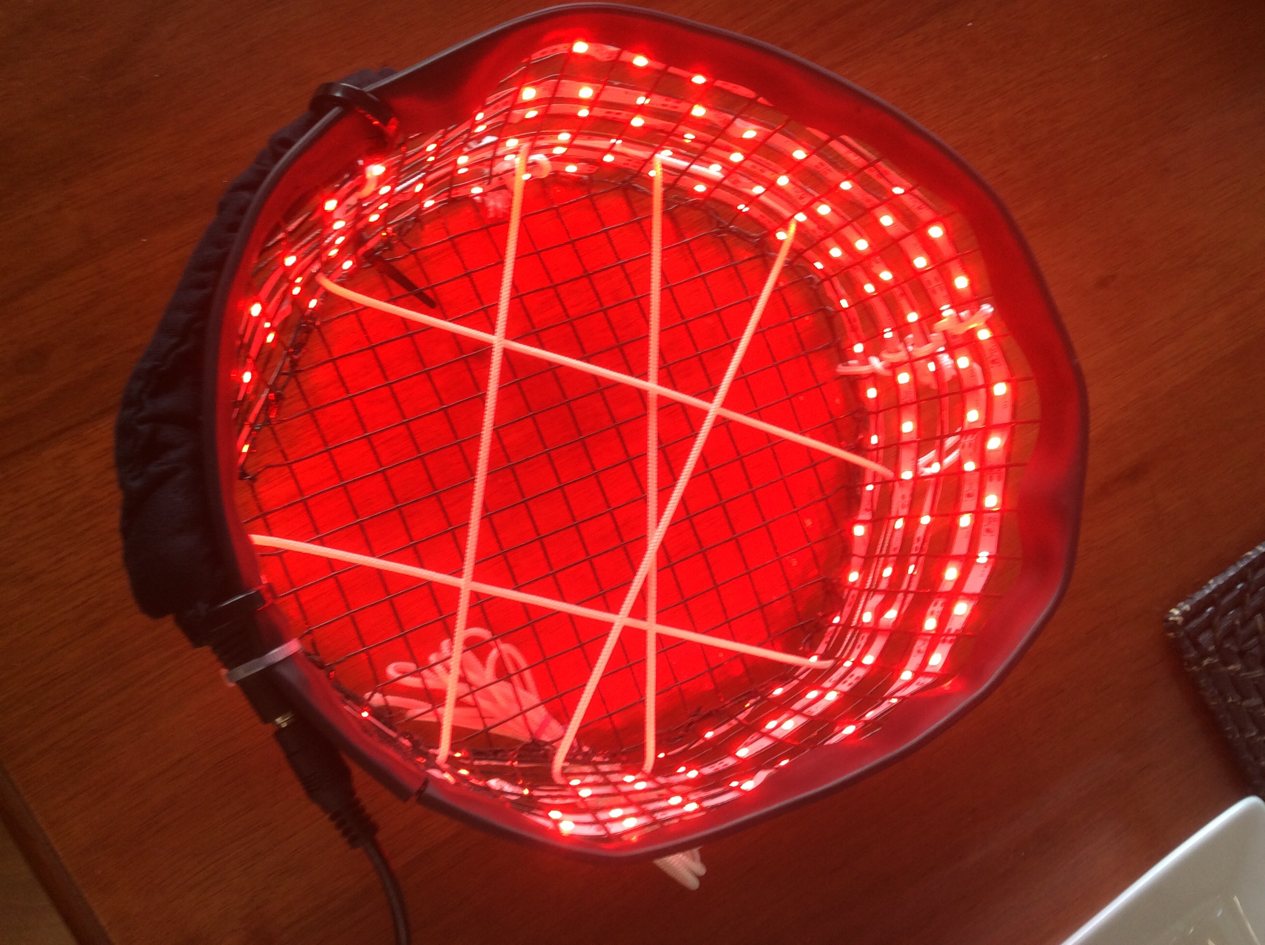 This is a Cossack light hat - the instructions for making this are on the blog. The Cossack uses LED strip - you can see the strip wound around the frame.